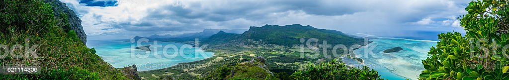 Open View on TwinBay from Mountain top stock photo