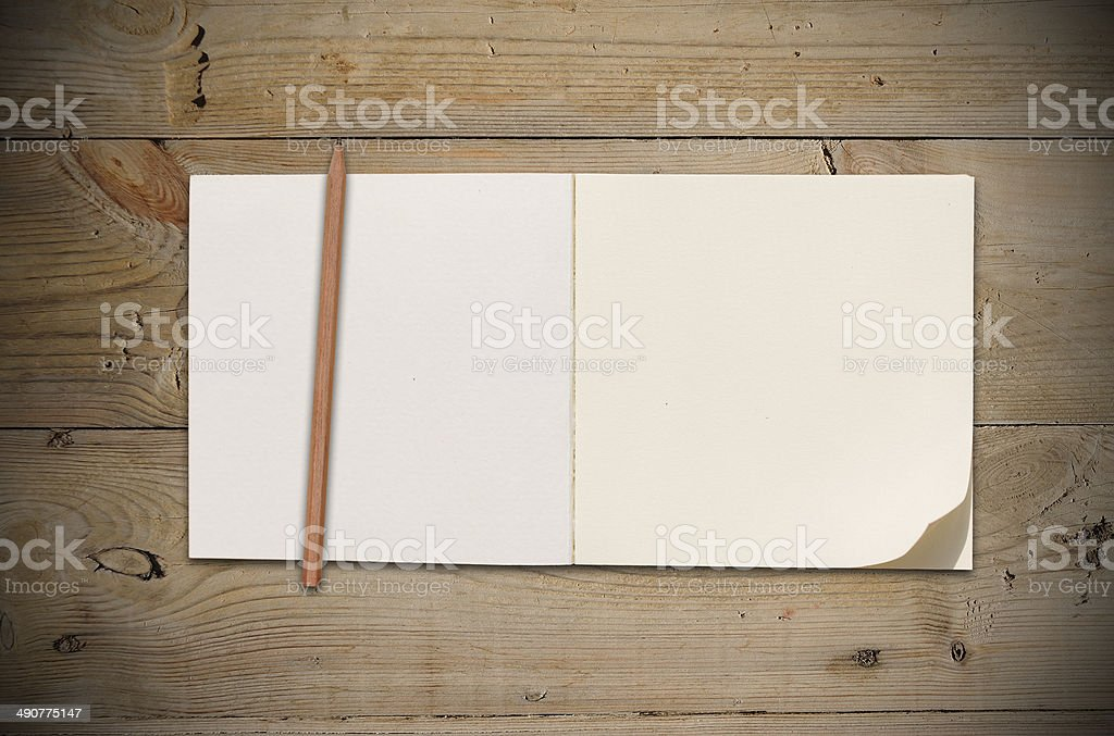 Open Vintage Sketchbook stock photo