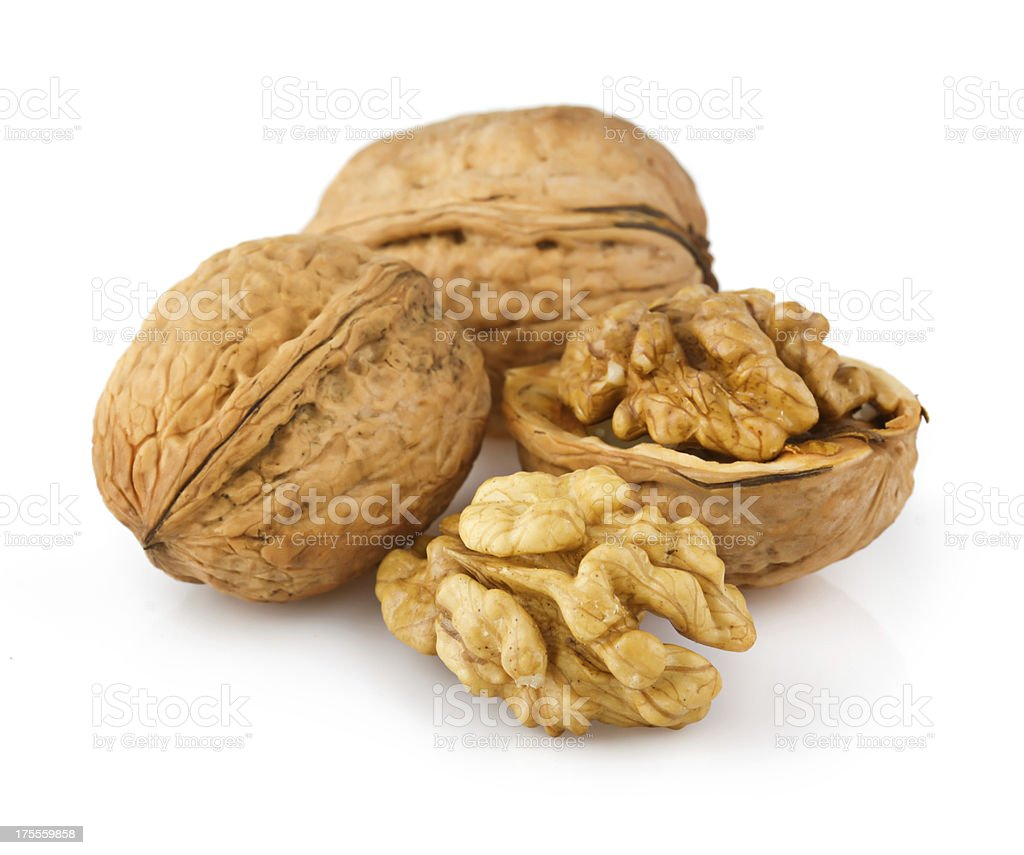 Open walnuts isolated on white royalty-free stock photo