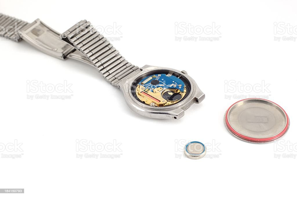 Open watch with battery stock photo