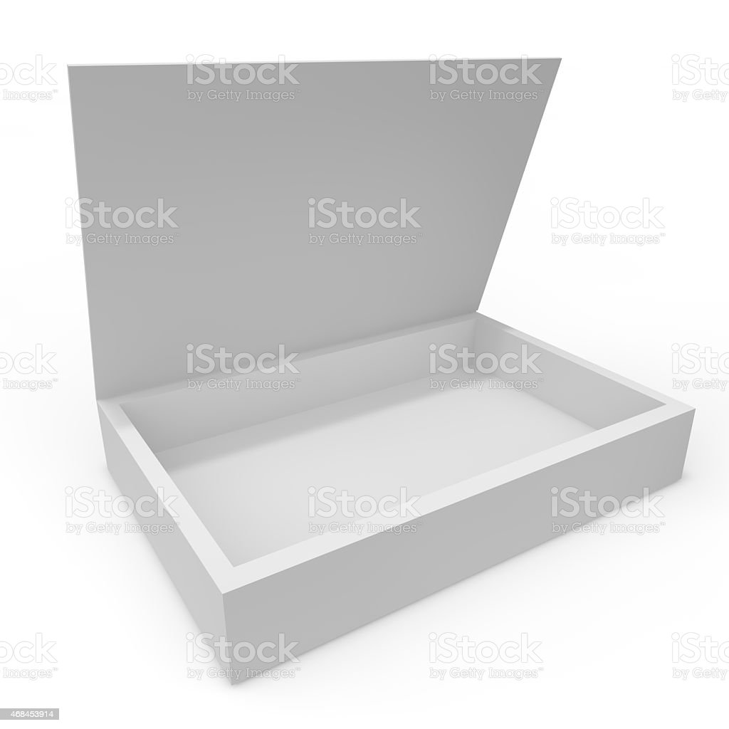 Open white blank box stock photo