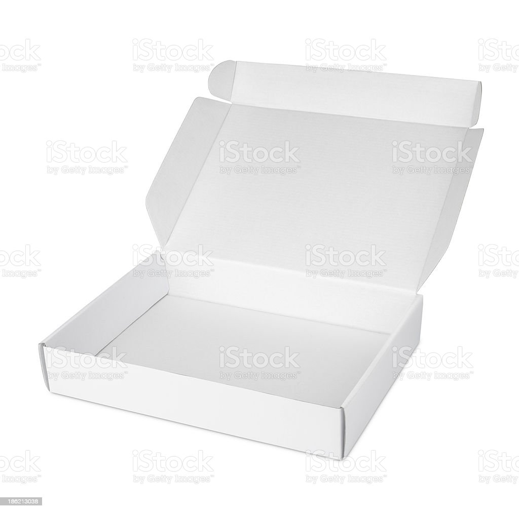 Open white blank carton pizza box stock photo