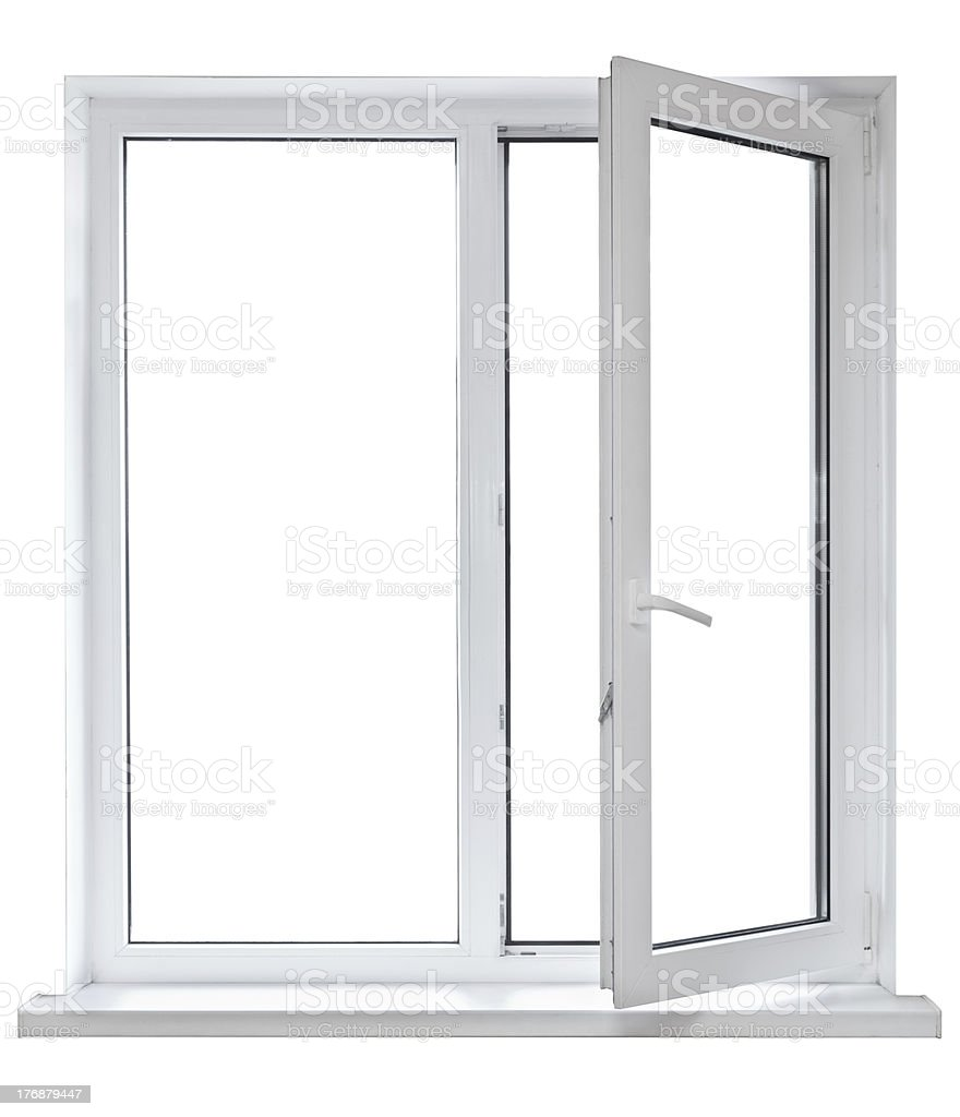 Open white casement window on white background stock photo