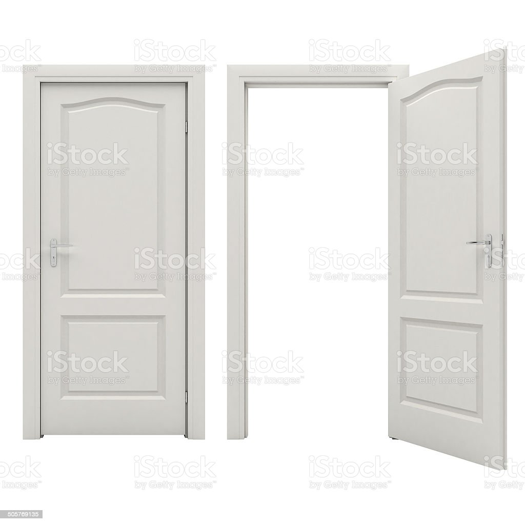 Open white door stock photo