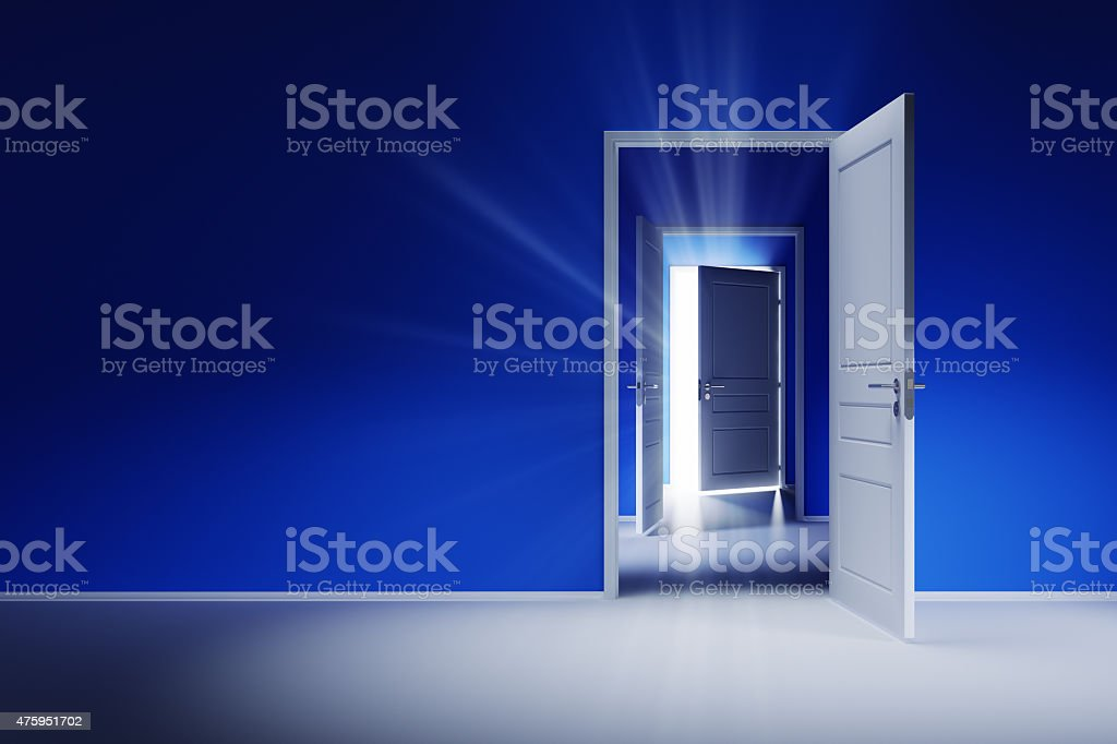 Open white doors with rays of light on blue wall vector art illustration