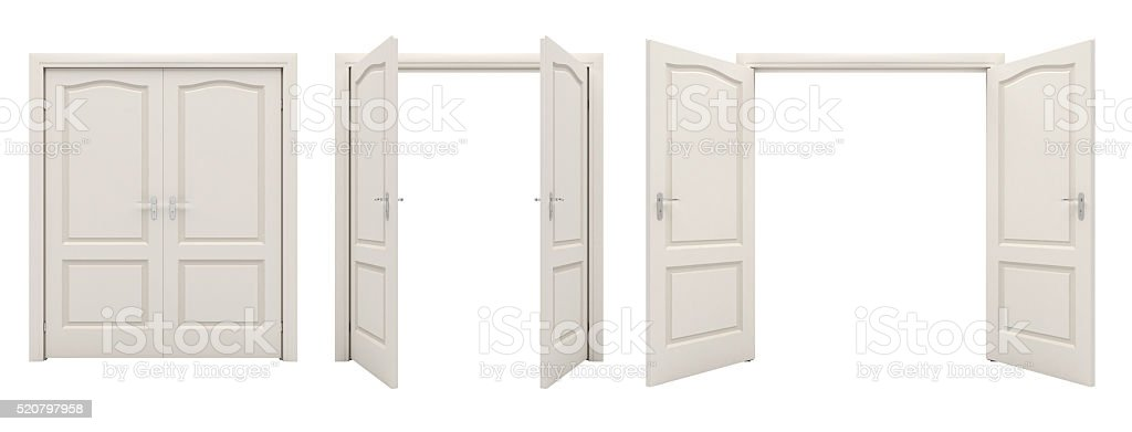 Open white double door isolated on a white background. stock photo