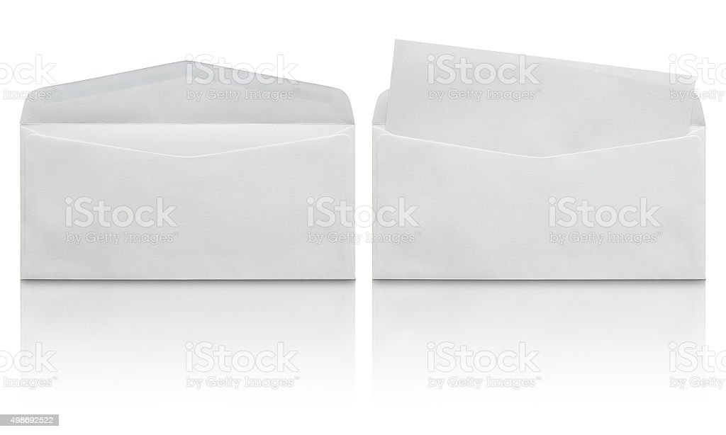 open white envelope with blank letter stock photo