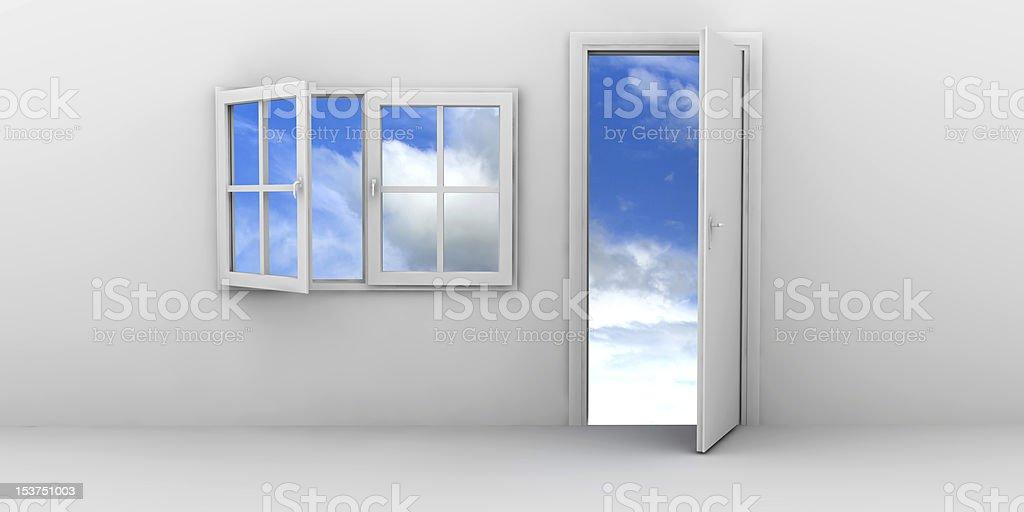 Open window and door royalty-free stock photo