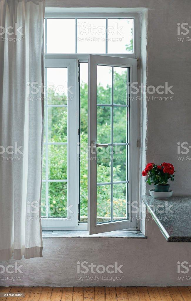 Open window in the room stock photo