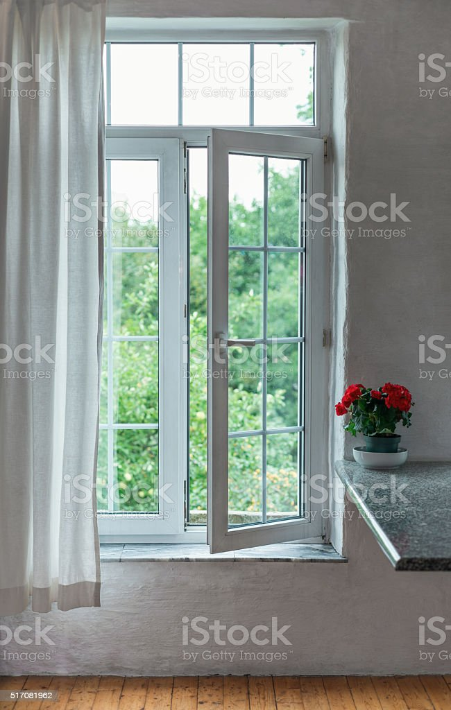Open window in the room stock photo