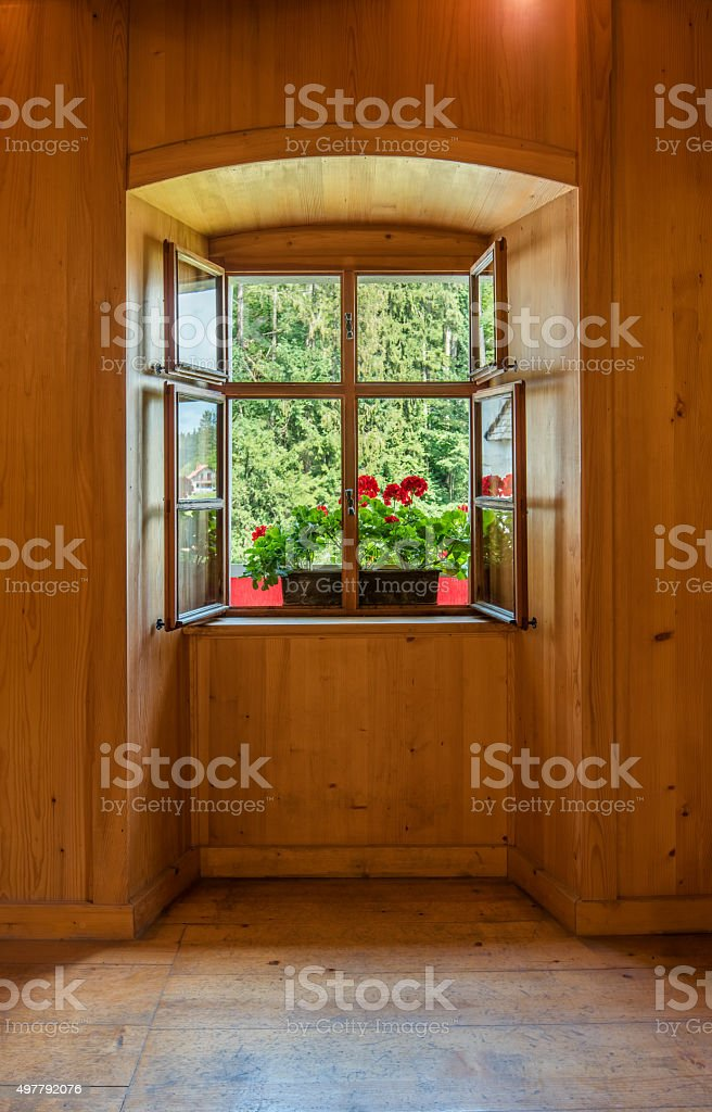 Open Window in Wooden Room Interior stock photo