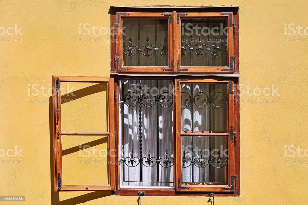 Open Window of an Old Building stock photo
