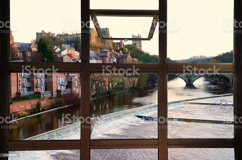 Open window to Durham town, River Wear, and Prebends bridge stock photo