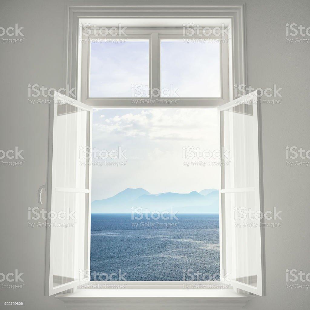 Open Window To The Ocean View stock photo