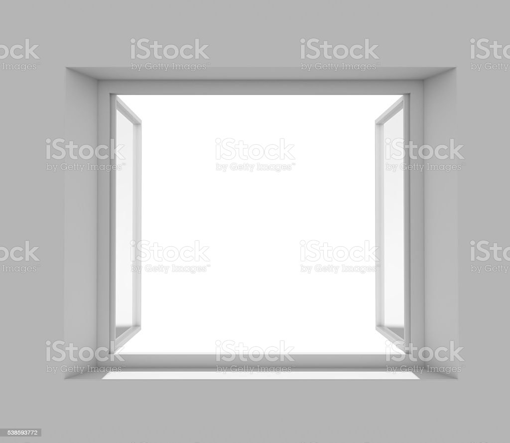 Open window with empty white wall stock photo