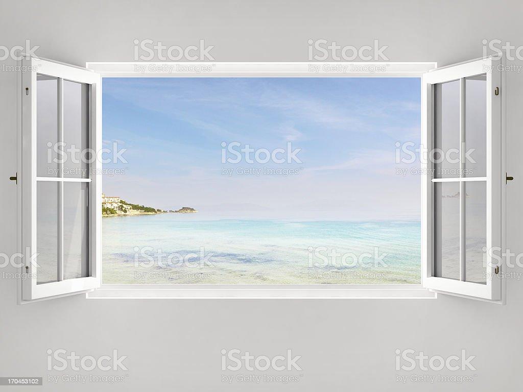 Open Window With Ocean View stock photo