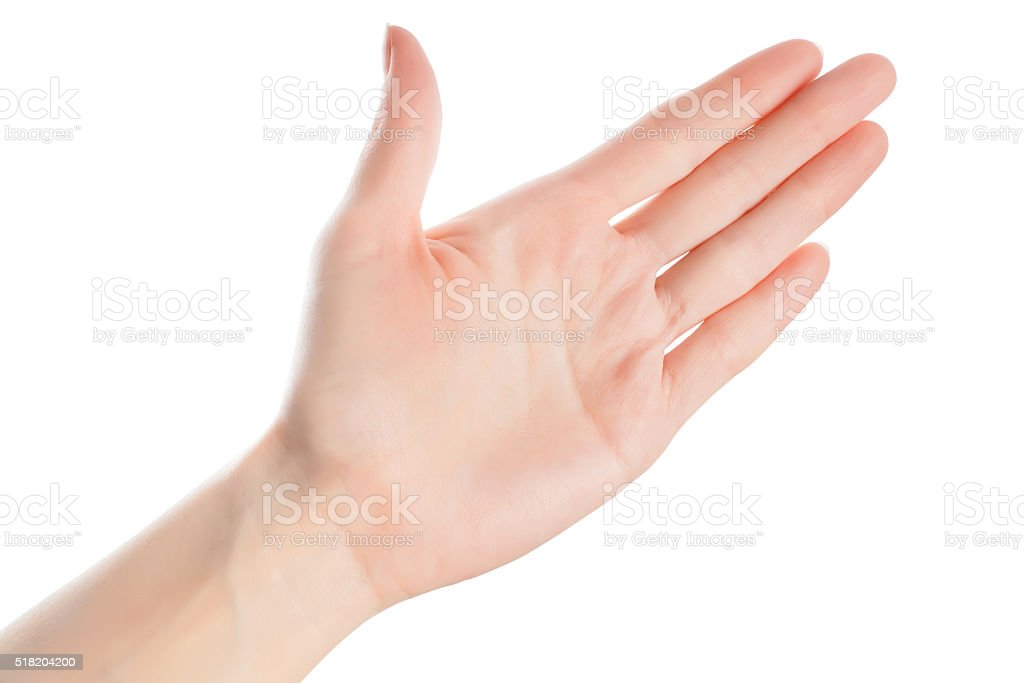 Open woman hand isolated stock photo