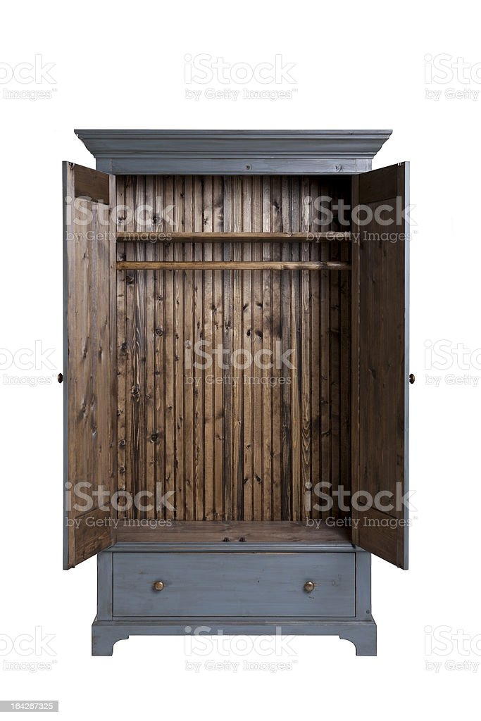 Open Wood Wardrobe Cabinet stock photo