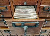 Open wooden boxes with index cards in library