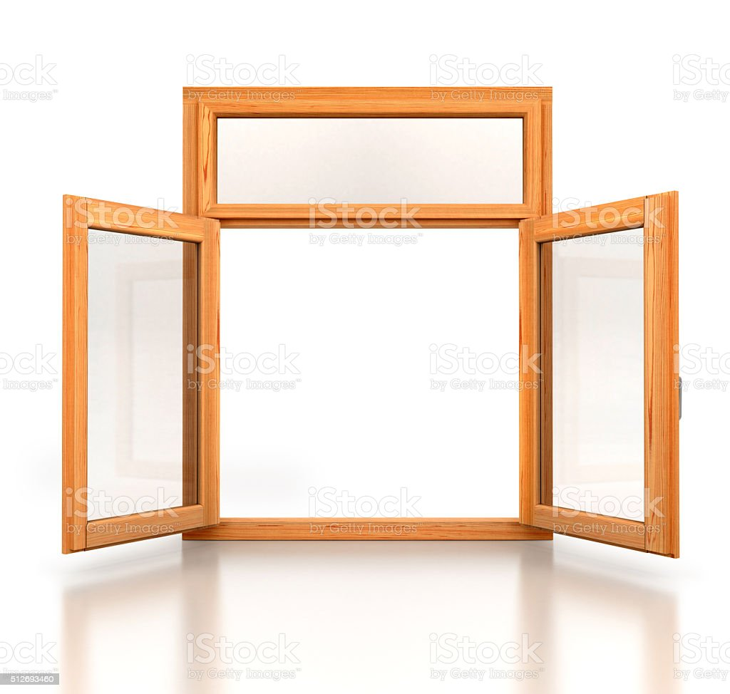 Open wooden double window opened isolated on white background stock photo