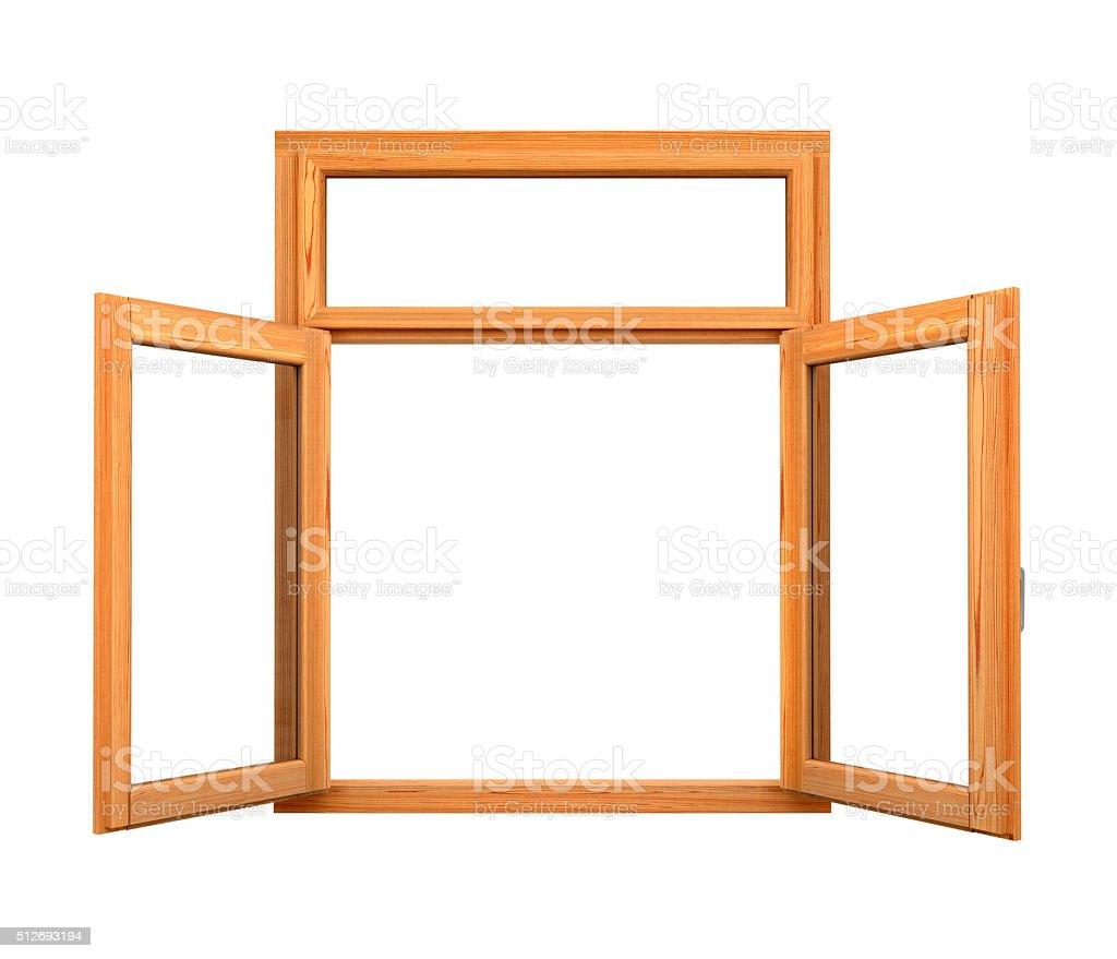 Open wooden double window stock photo