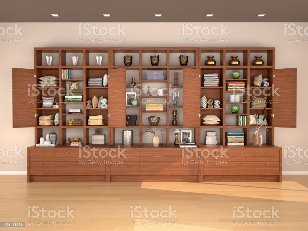 Interior wooden shelves free vector - Open Wooden Shelves With Different Filling 3d Illustration Royalty Free Stock Vector Art