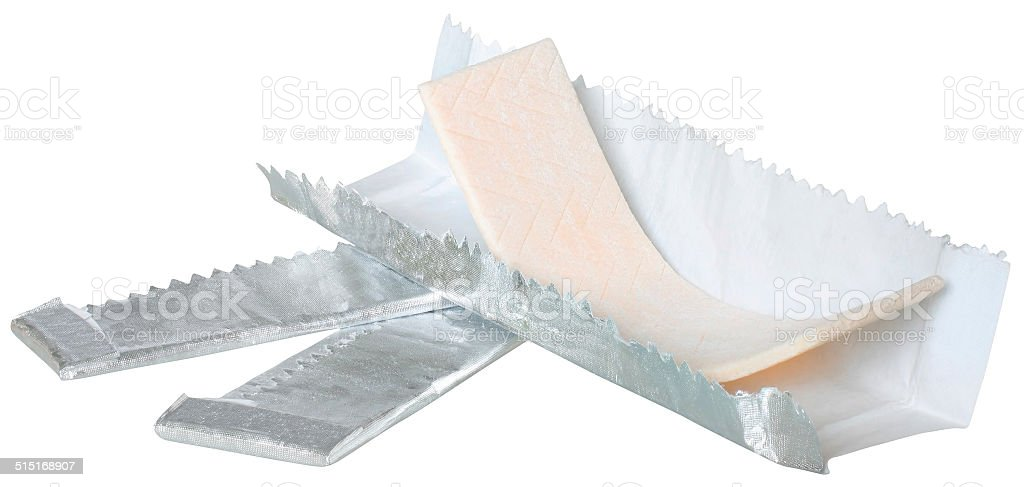 Open wrapper with gum inside stock photo