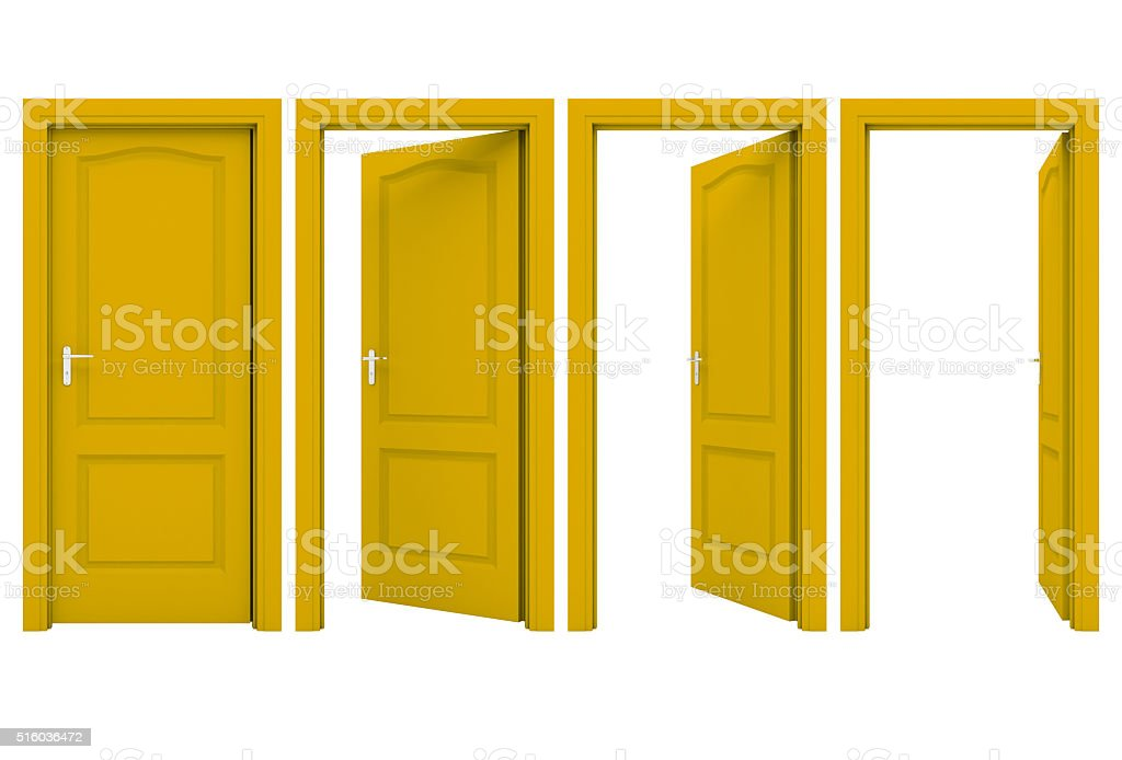 Open yellow door isolated on a white background stock photo