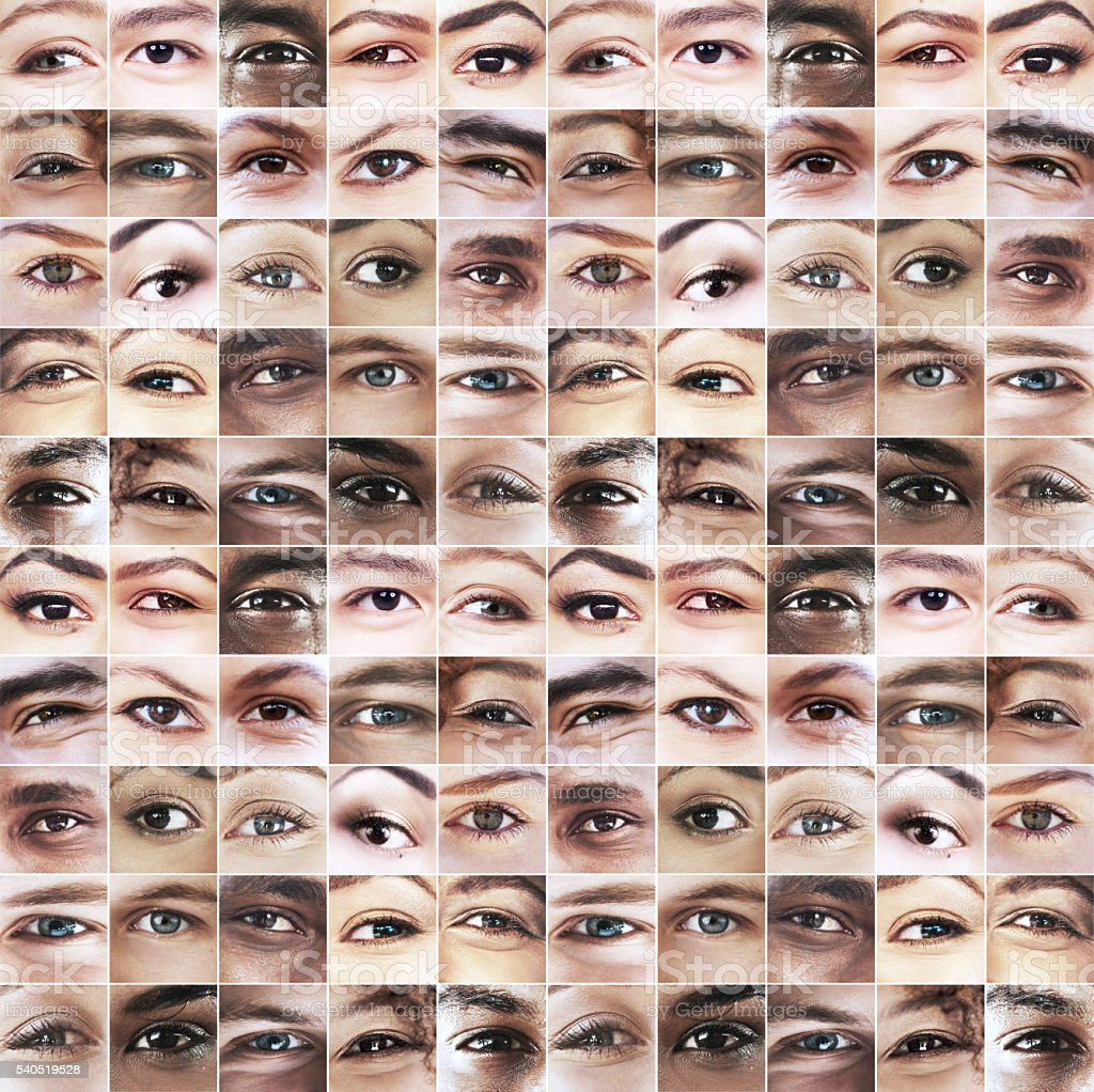 Open your eyes to the beauty of humanity stock photo