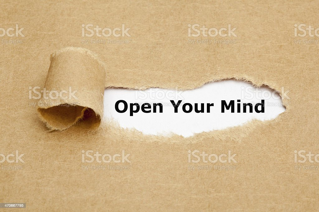 Open Your Mind Torn Paper stock photo