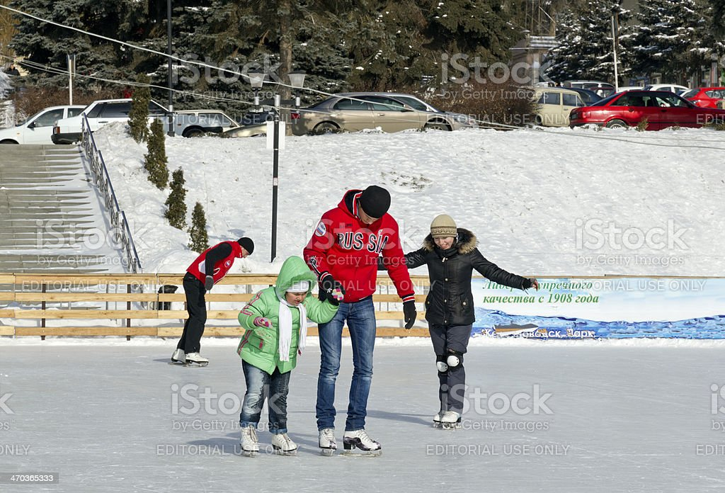 Open-air ice rink. stock photo