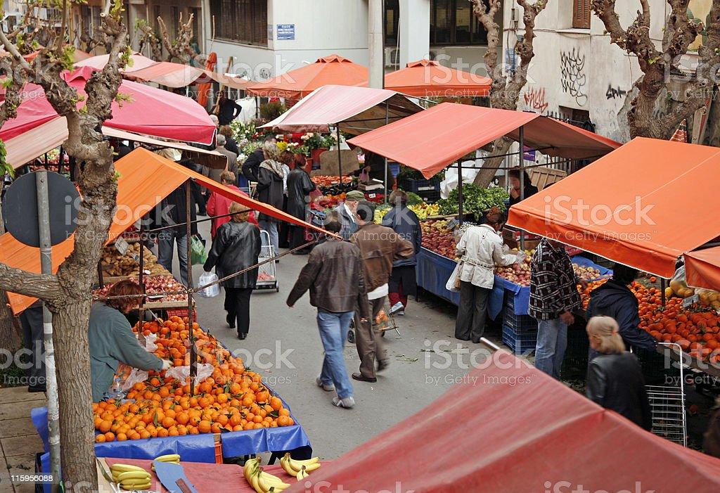 Open-air market scene stock photo