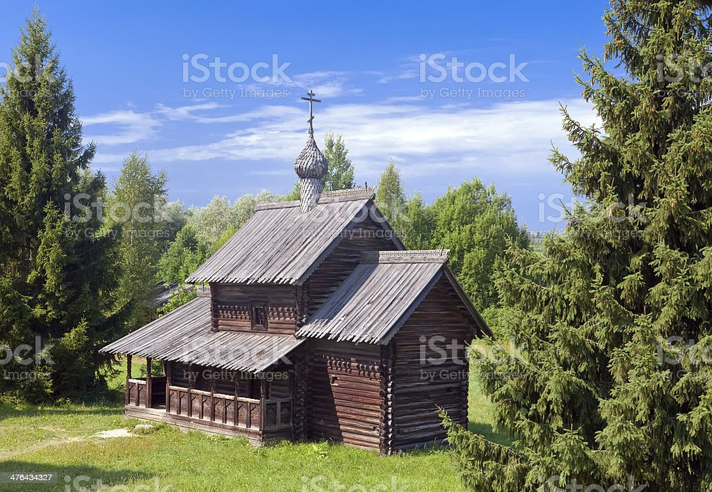 Open-air museum of ancient wooden architecture. Russia. Vitoslavlitsy, Great Novgorod. royalty-free stock photo