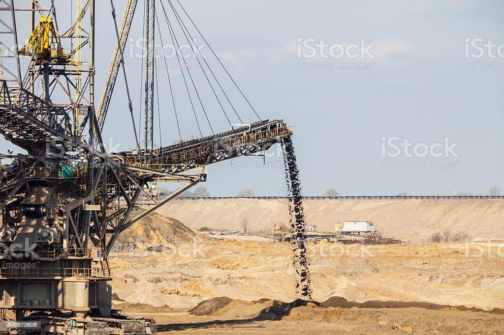 Opencast brown coal mine. Giant excavator. stock photo