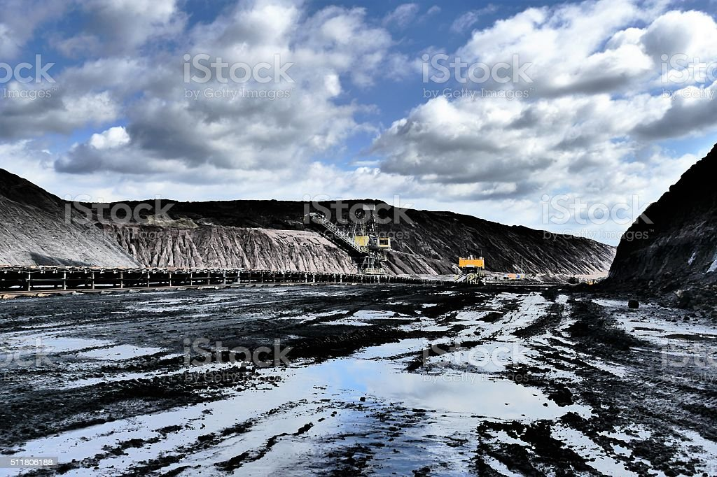 Opencast brown coal mine stock photo
