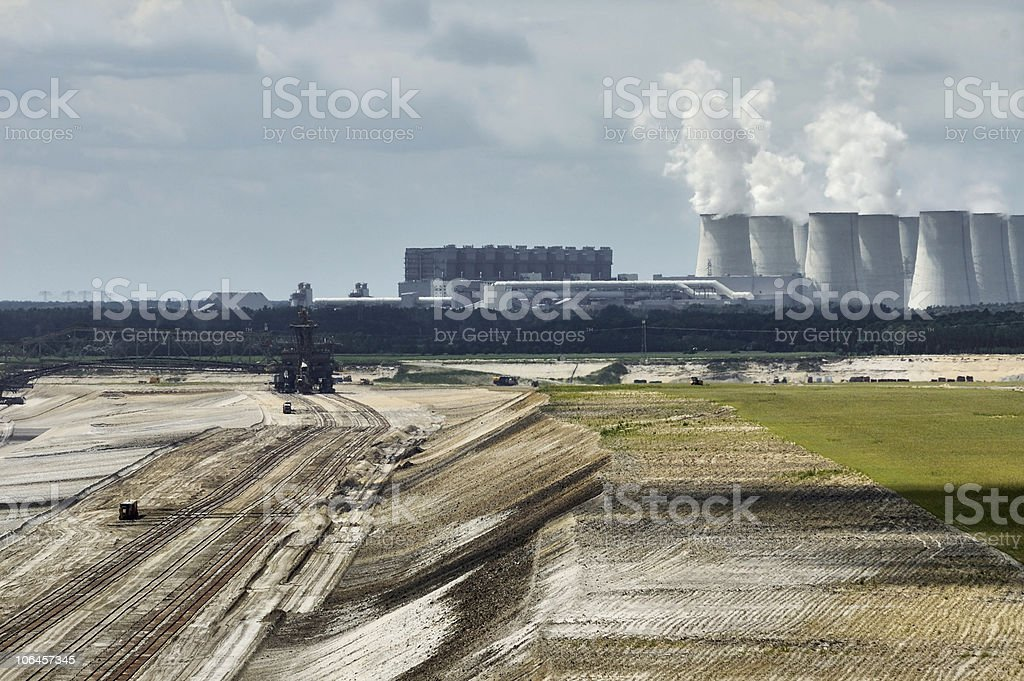 Opencast mine and power plant stock photo