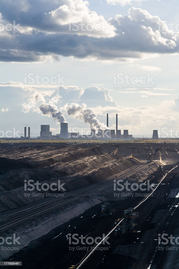Open-cast Mining and Powerplant in the Lausitz stock photo