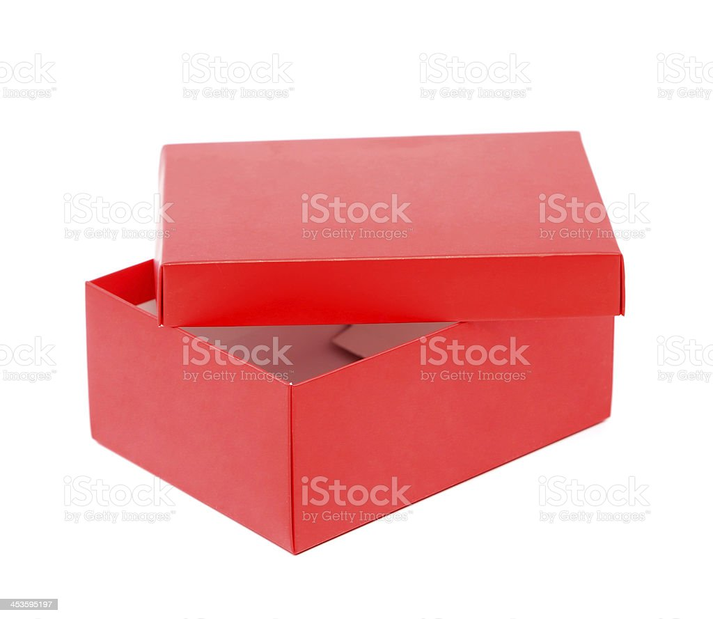 Opend red shoe box isolated on a white background stock photo