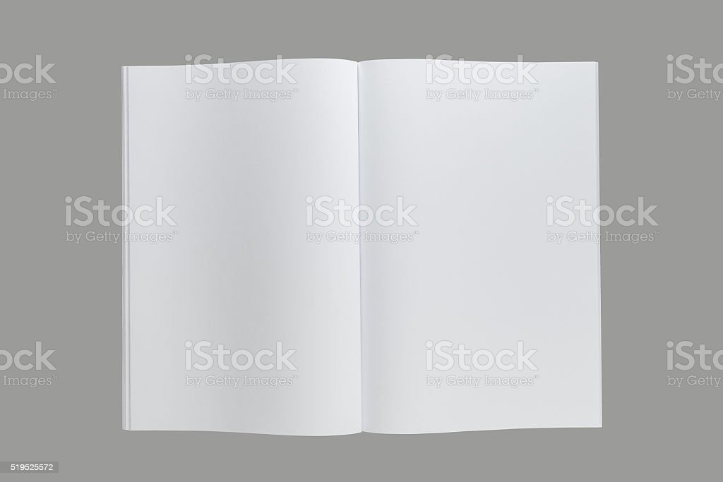 Opened A4  book or catalog or magazine stock photo