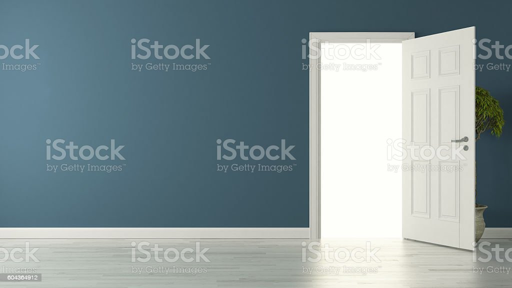 opened american door with blue wall and reflective floor stock photo