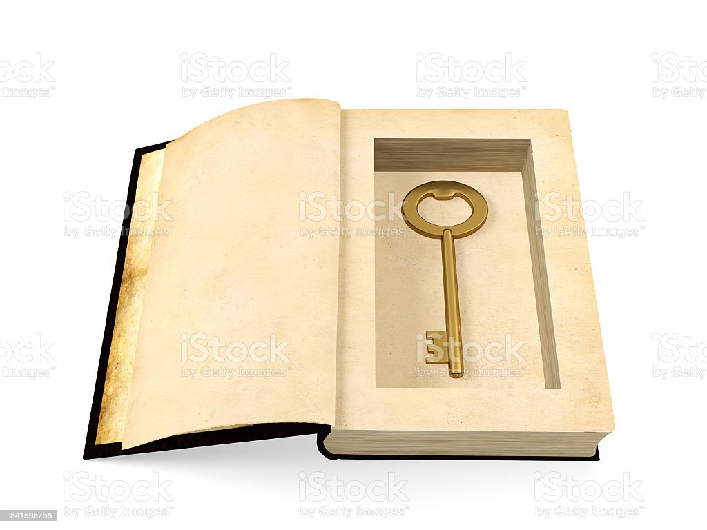Opened ancient paper book with retro golden key hidden inside stock photo