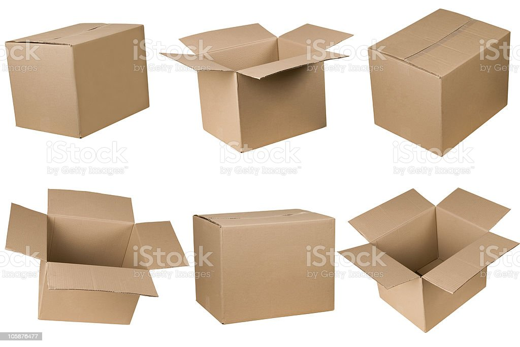 Opened and closed cardboard box stock photo