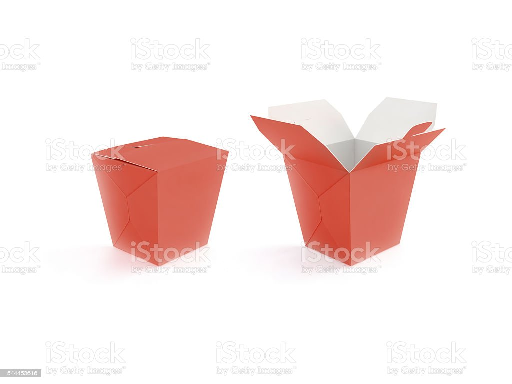 Opened and closed red blank fast food box mockup stand stock photo