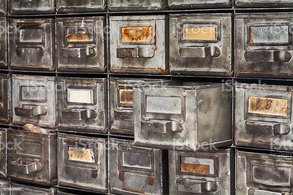 Opened archive file box, filing system. Rare metal boxes textured stock photo