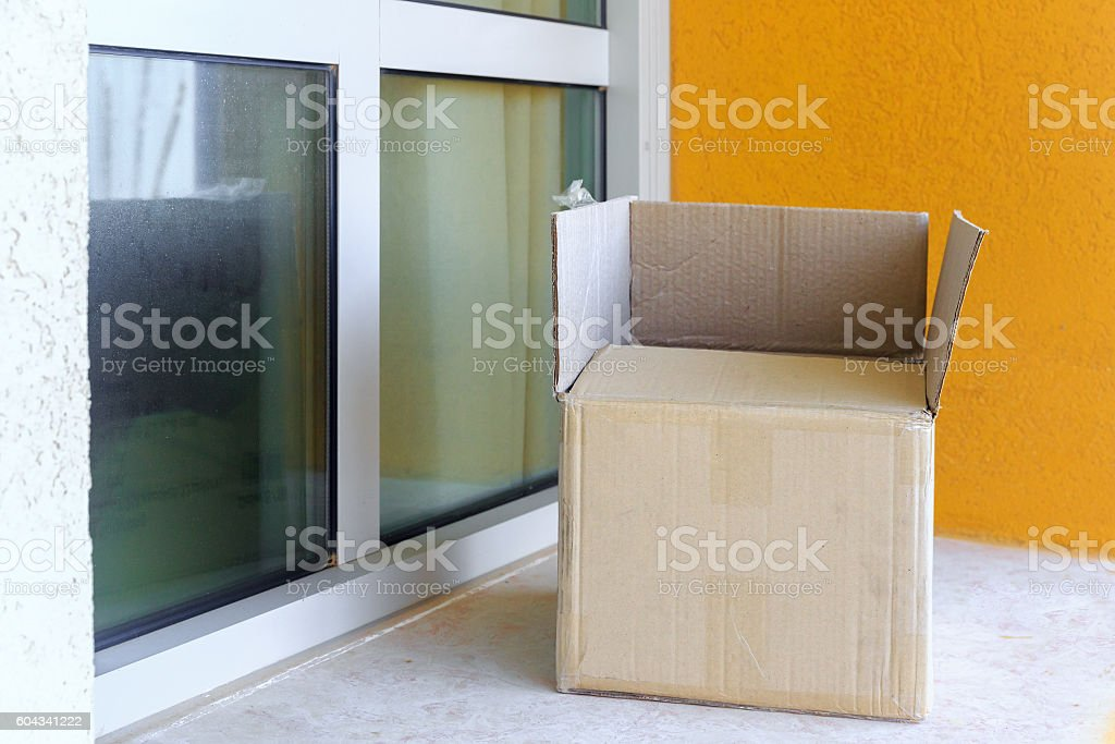 Opened big cardboard box stock photo