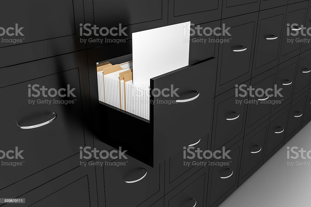 opened black file cabinet white empty documents illustration stock photo