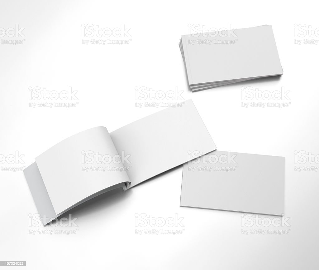 opened blank brochure stock photo