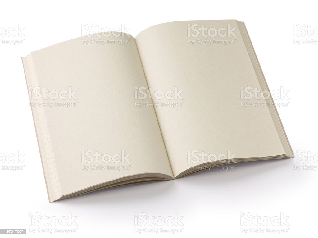 opened blank paperback stock photo