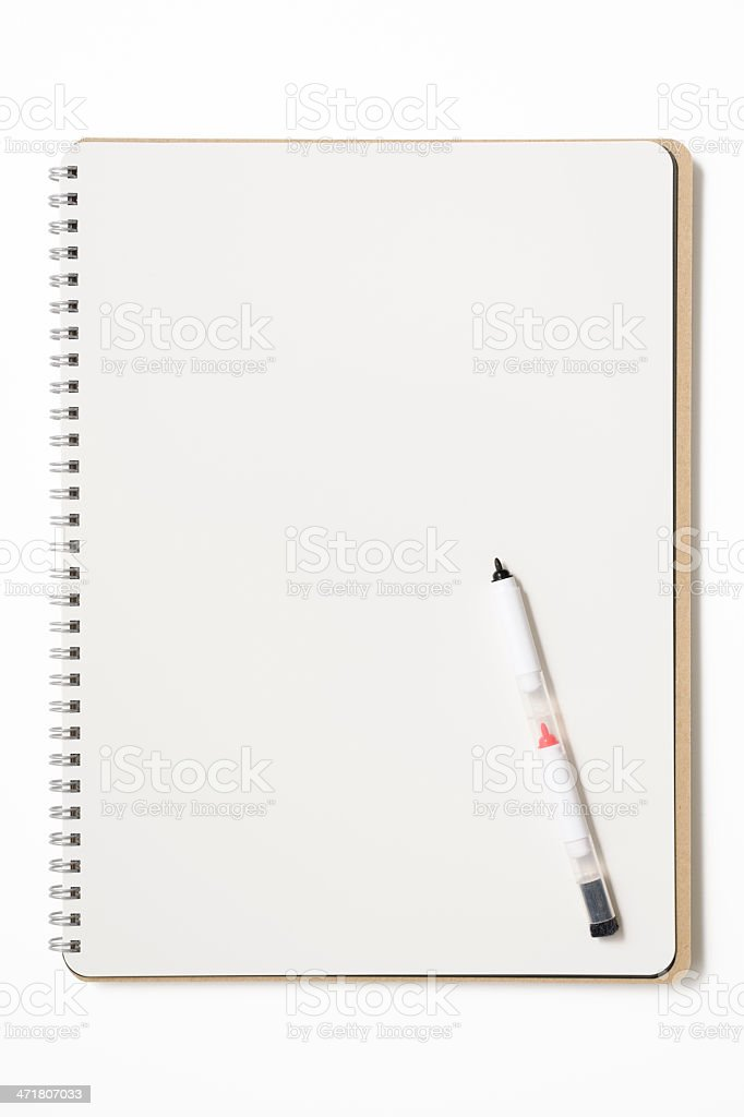 Opened blank spiral notebook like a whiteboard with felt pen royalty-free stock photo