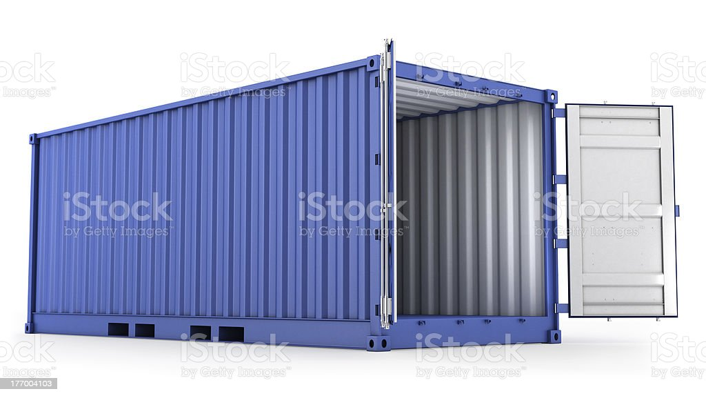 Opened blue freight container stock photo